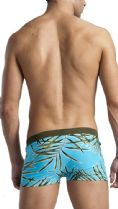 Men's Swimwear Square Cut Boxer Trunks Blue Leaf pattern 1121b2 .